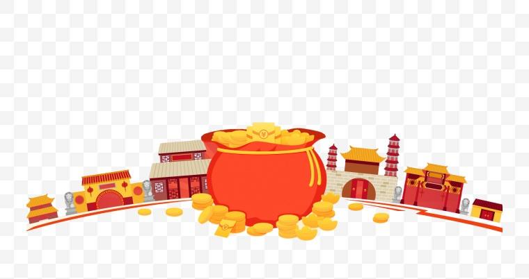 金币 卡通 建筑 活动 节日
