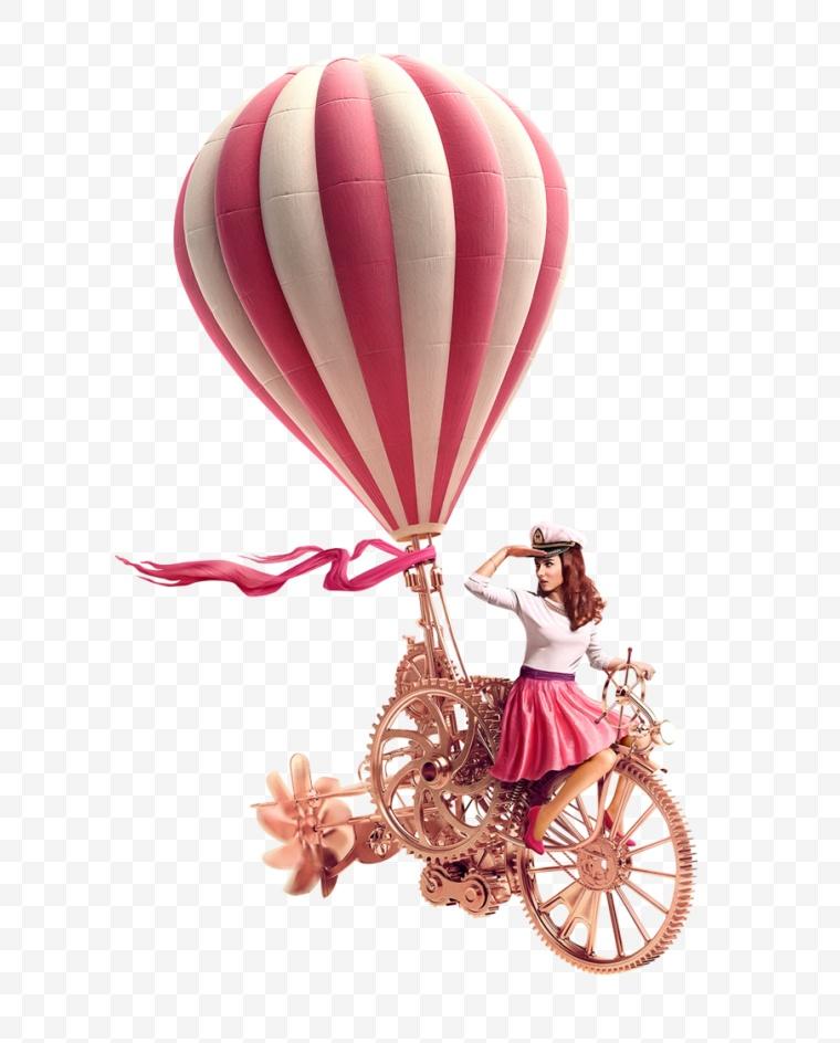 热气球 时尚 自行车 美女 活动 氛围