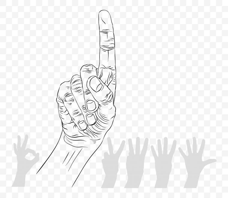 手 手指 手势 素描手