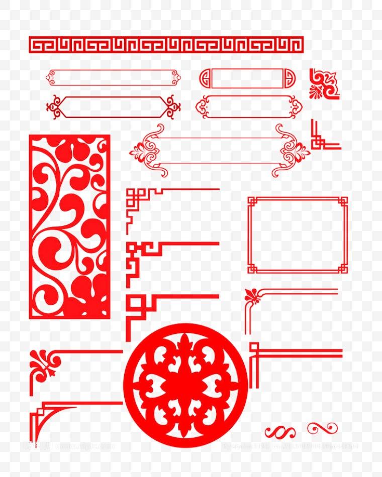 古典花纹 古典 花纹 暗纹 中国风 新年 新春 春节 年货节 古典花纹边框 边框 古典边框
