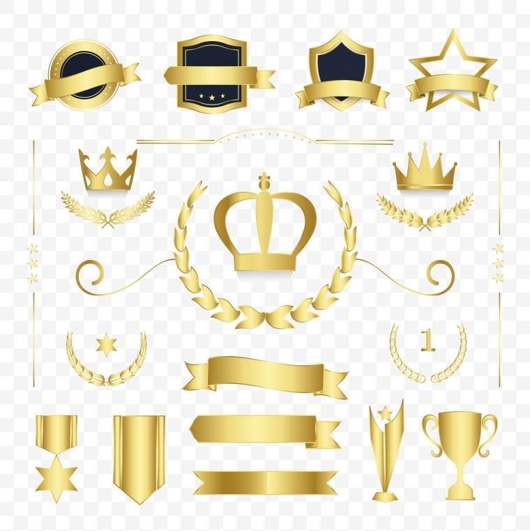 矢量标签 麦穗标签 颁奖 奖杯 奖章 皇冠 图标