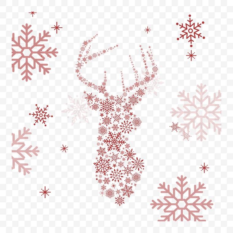 矢量雪花 雪花 冬天 冬季 冬 圣诞节 圣诞 驯鹿 鹿 鹿头 麋鹿