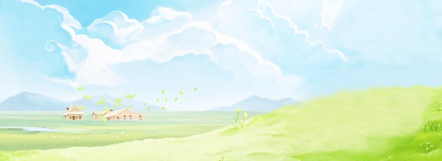 手绘插画自然风景背景图片素材